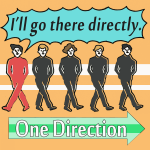 「1D (ワン・ダイレクション)」から学ぶ<br>I'll go there directly.