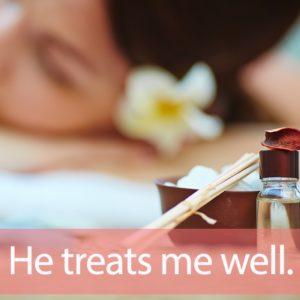 「トリートメント」を知ってれば…ゼッタイ話せる英会話→ He treats me well.