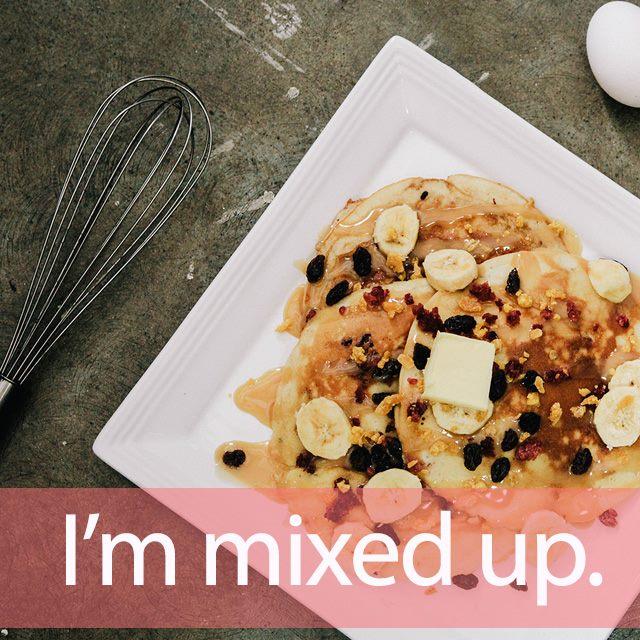 「ミックス」を知ってれば…ゼッタイ話せる英会話→  I'm mixed up.