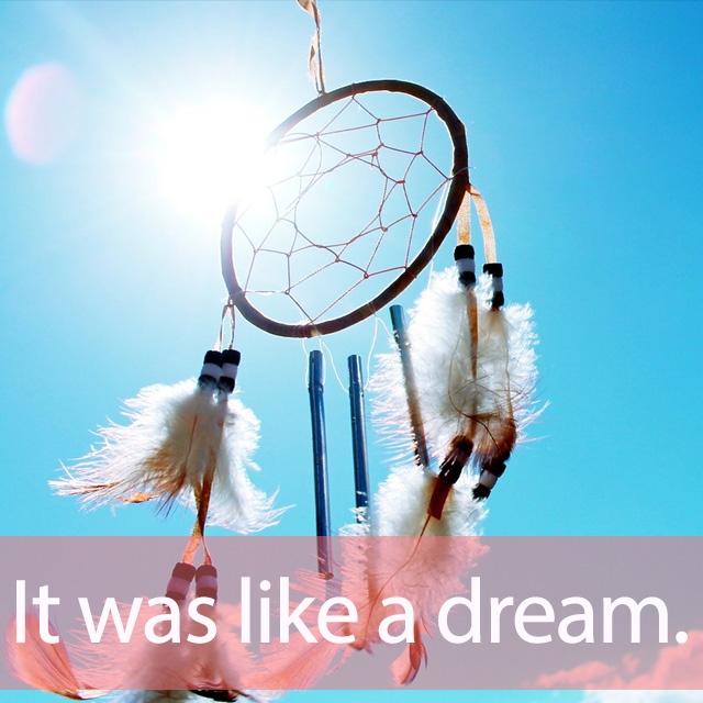 「ドリーム」を知ってれば…ゼッタイ話せる英会話→  It was like a dream.