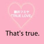 藤井フミヤ「TRUE LOVE」から学ぶ→ That's true.